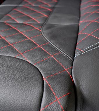 Diamond Red Leather / White Stitch