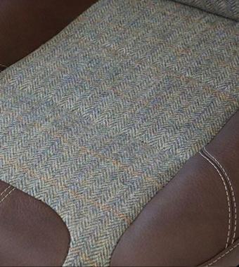 Herringbone Harris Tweed with Chestnut Leather