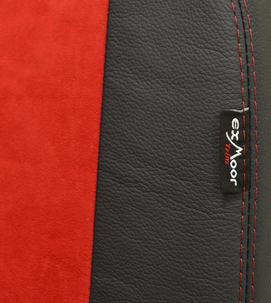 Exmoor Trim Dynamica Red & Black Leather Bespoke Swatch